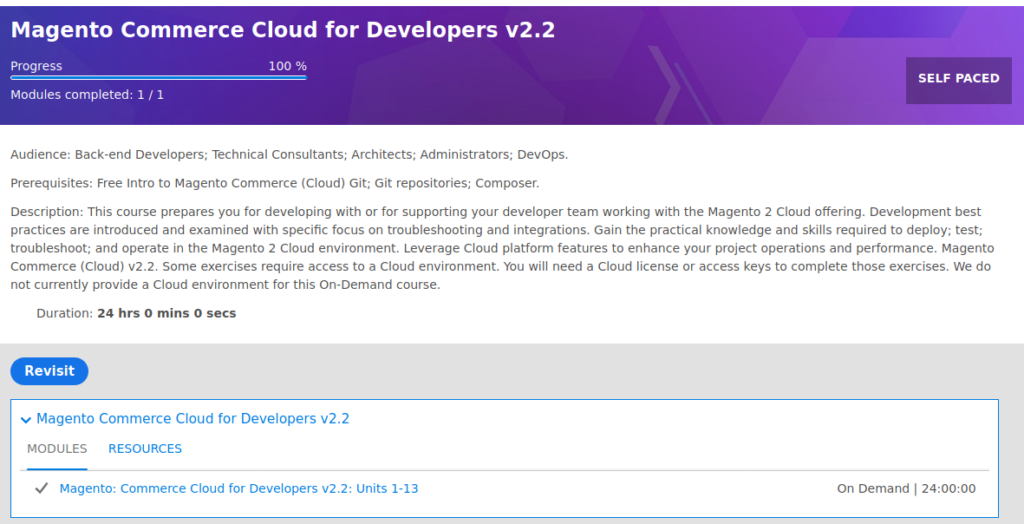Magento Commerce Cloud for Developers on-demand course